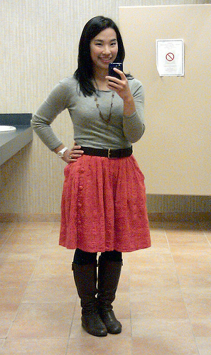 Gap outlet sweater, Anthropologie skirt, Banana Republic outlet belt, J. Crew necklace, Forever 21 leggings, Enzo Angiolini boots (via Piperlime)