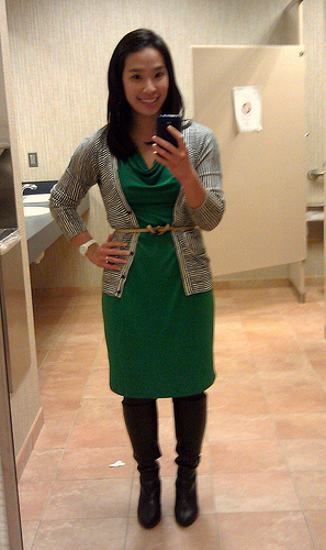 Banana Republic outlet dress, LOFT cardigan, Anthro belt, Target gray tights, Naturalizer boots