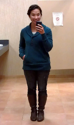 Banana Republic outlet sweater, Shade tee underneath, Target skinny jeans, Enzo Angiolini (via Piperlime) boots