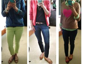L-R: Bright yellow-green capris in heavy rotation; Pop of hot pink cardigan; Mint green button-down under (dorky) Valentine's Day sweater